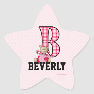 "Pink Bear Monogrammed ""B"" Star Stickers"