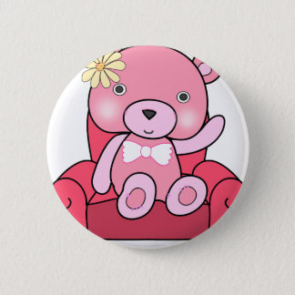 Pink bear on sofa art 2 inch round button