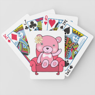 Pink bear on sofa art bicycle playing cards