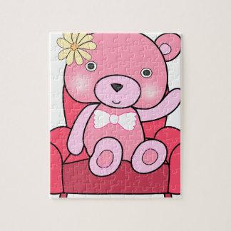 Pink bear on sofa art jigsaw puzzle