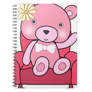 Pink bear on sofa art notebooks