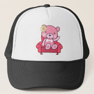 Pink bear on sofa art trucker hat