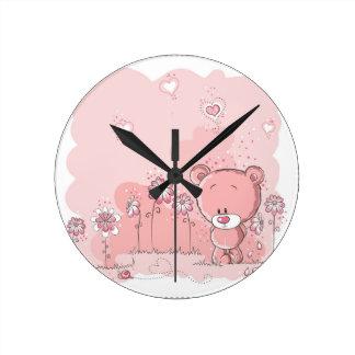 PINK BEAR ROUND CLOCK