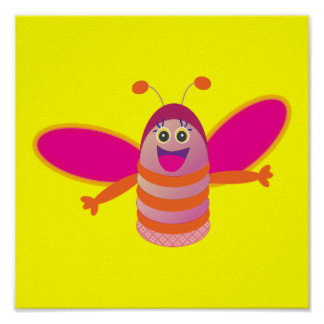 Pink bee poster