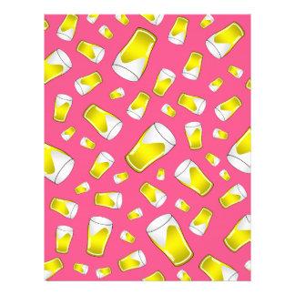 Pink beer pattern flyer design