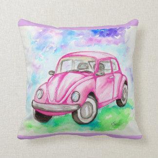 Pink Beetle Throw Pillow