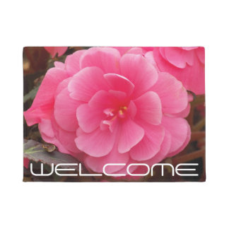 Pink Begonia Floral Welcome Doormat