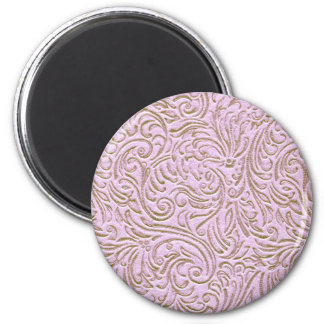 Pink Beige Color Vintage Scrollwork Graphic Design 2 Inch Round Magnet