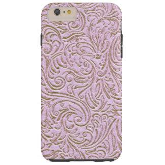 Pink Beige Color Vintage Scrollwork Graphic Design Tough iPhone 6 Plus Case