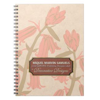 Pink Bell Blossoms Designer Cream Notebook