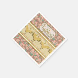 Pink Bells Gold Ostriches Paper Napkin