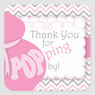 Pink Belly Bump Baby Shower Favor Stickers
