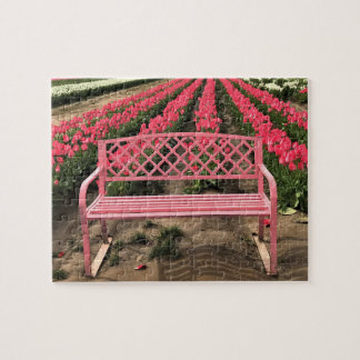 Pink Bench with Pink Tulips Jigsaw Puzzle