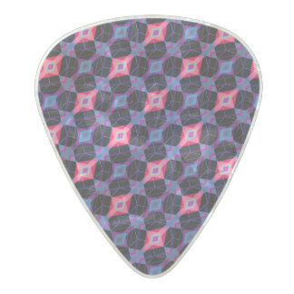 Pink Beveled Diamond Cube Lattice Geometric Mosaic Pearl Celluloid Guitar Pick