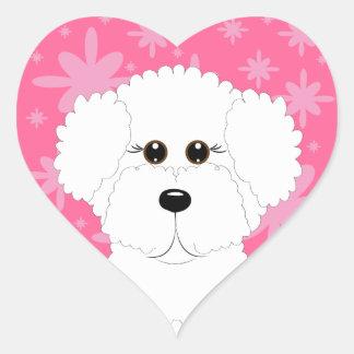 Pink Bichon Frise Heart Stickers