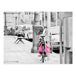 Pink bicycle postcard