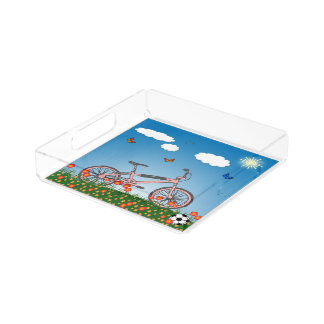 Pink bicycle serving tray