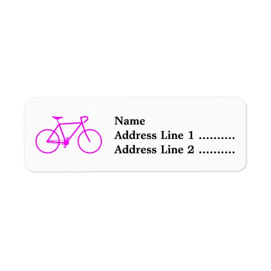 Pink Bicycle Silhouette Return Address Label