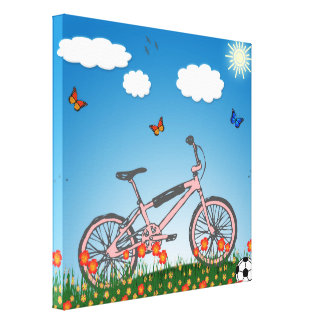 Pink bicycle stretched canvas prints