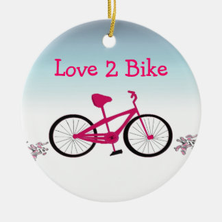 Pink Bicycle with Cute Saying Round Ceramic Ornament