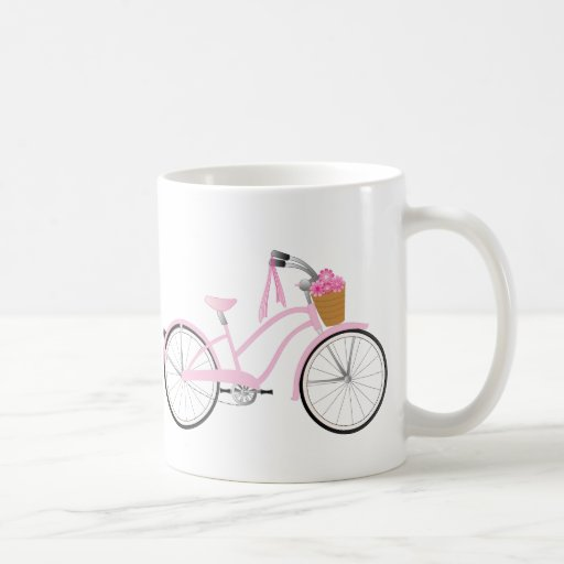 Pink Bicycle with Streamers Mugs