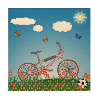 Pink bicycle wood canvases