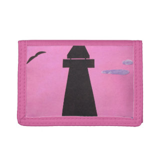 Pink Billfold with Lighthouse Design Trifold Wallet