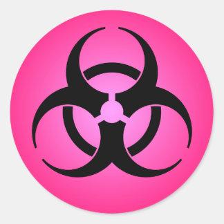 Pink Biohazard Symbol Round Sticker