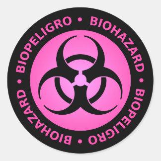 Pink Biohazard Warning Sticker