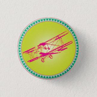 Pink Biplane 1 Inch Round Button