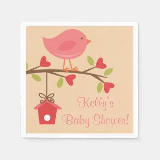 Pink Bird Baby Shower Napkins Paper Napkins