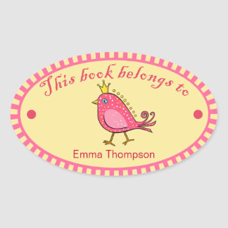 Pink Bird Book Label Stickers