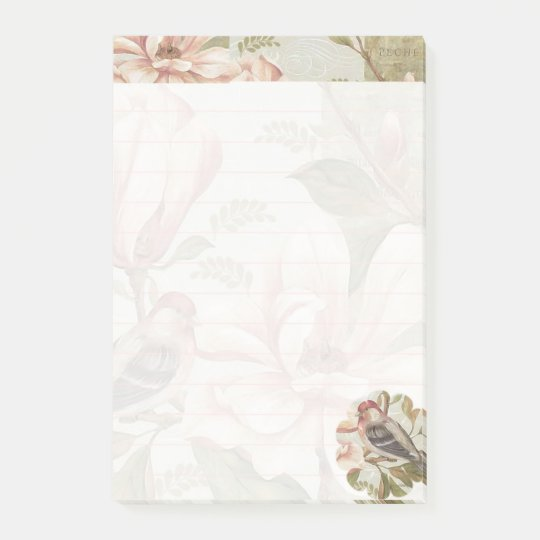 Pink bird floral post-it® notes