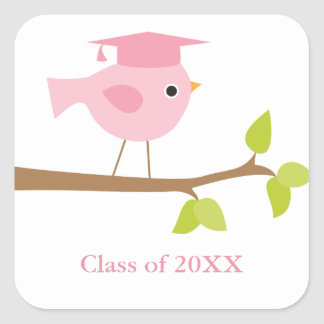 Pink Bird Graduation Envelope Seals Square Sticker