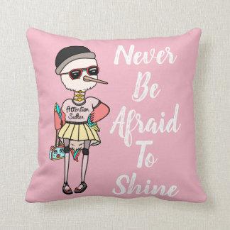 Pink Bird Motivational Pillow-Let your light shine Throw Pillow