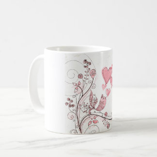 Pink bird of love coffee mug