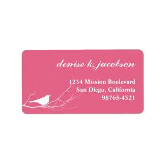 Pink bird on branch modern style return address label