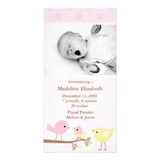 Pink Birds Birth Announcement Photo Card Template