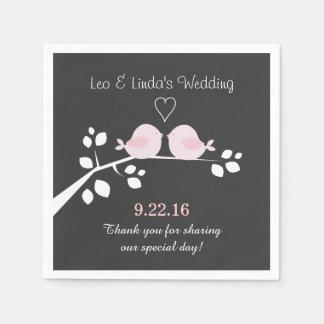 Pink Birds on Branch Bride/Groom Wedding Napkins Paper Napkins