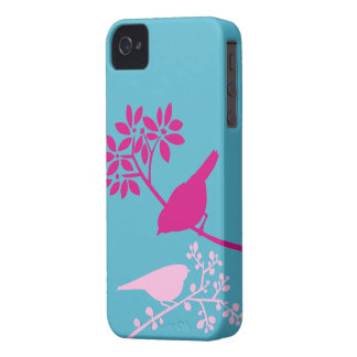 Pink Birds on Light Blue Case-Mate iPhone 4 Case