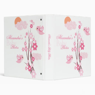 Pink Birds Spring Flowers Baby Girl Album 3 Ring Binder