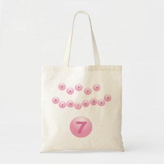 Pink Birthday Balls Age 7 Budget Tote Bag