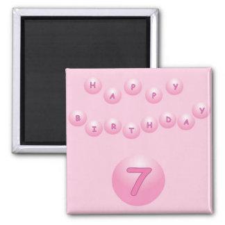 Pink Birthday Balls Age 7 Magnet