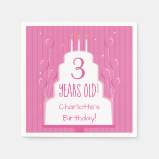 Pink Birthday Cake and Balloons | Paper Napkin