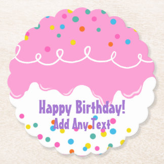 Pink Birthday Cake Frosting Paper Coaster