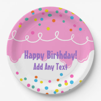 Pink Birthday Cake Frosting Paper Plate