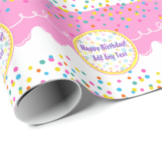 Pink Birthday Cake Frosting Wrapping Paper