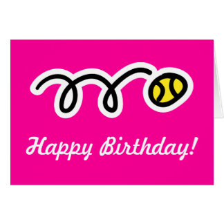 Pink birthday card for female tennis players