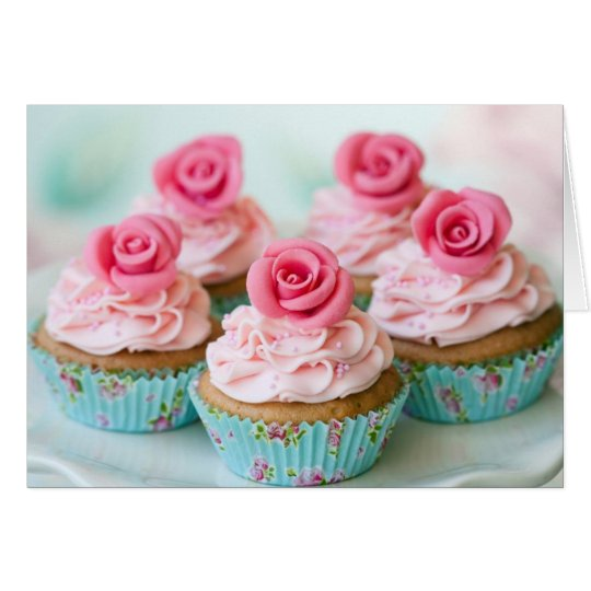 Pink Birthday, Wedding Cup Cakes Card