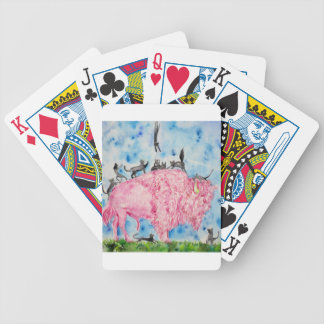 pink bison and black cats bicycle playing cards
